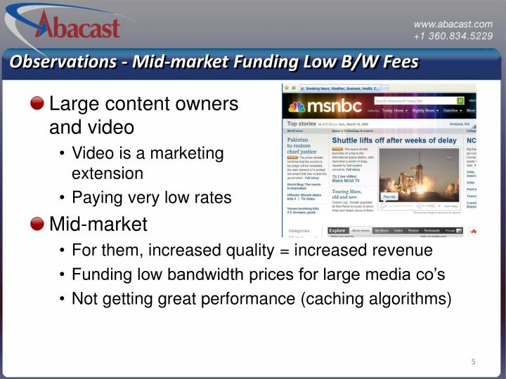 Observations - Mid-market Funding Low B/W Fees