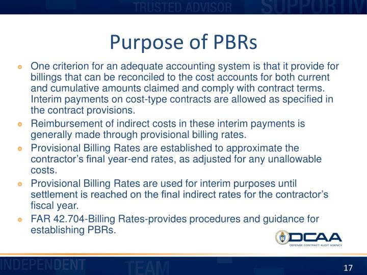 Purpose of PBRs