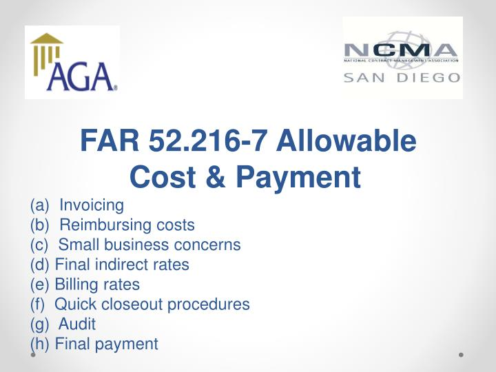 FAR 52.216-7 Allowable Cost & Payment