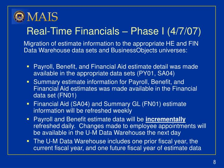 Real-Time Financials – Phase I (4/7/07)