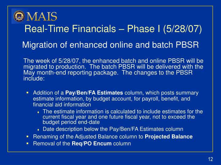 Real-Time Financials – Phase I (5/28/07)