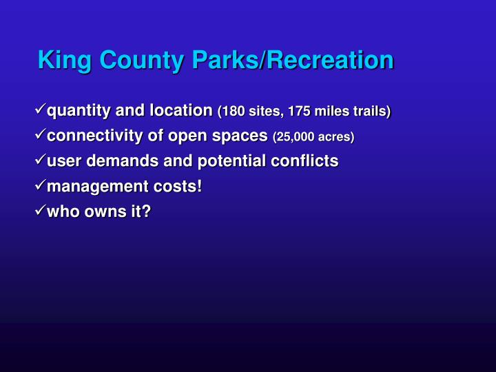 King County Parks/Recreation
