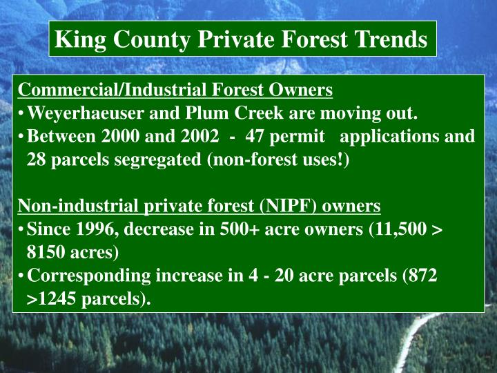 King County Private Forest Trends