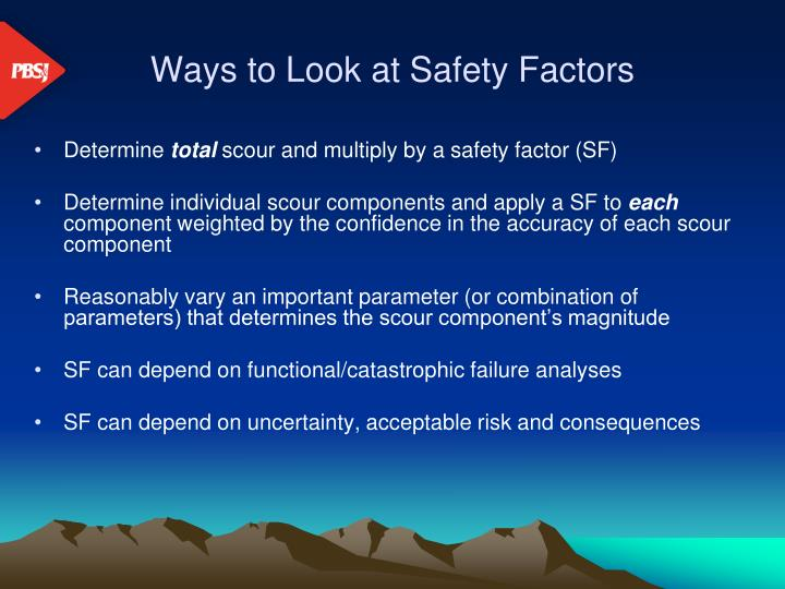 Ways to look at safety factors