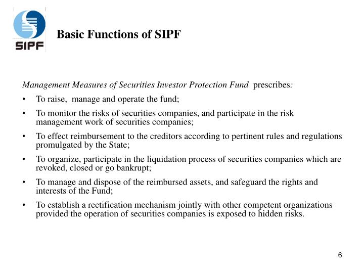 Basic Functions of SIPF