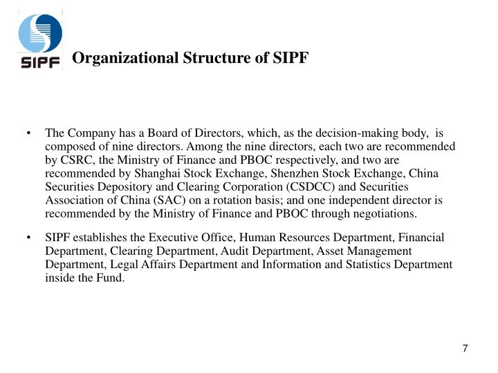 Organizational Structure of SIPF