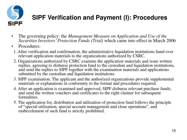 SIPF Verification and Payment (I): Procedures