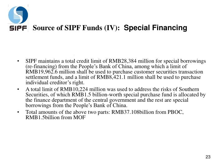 Source of SIPF Funds (IV):