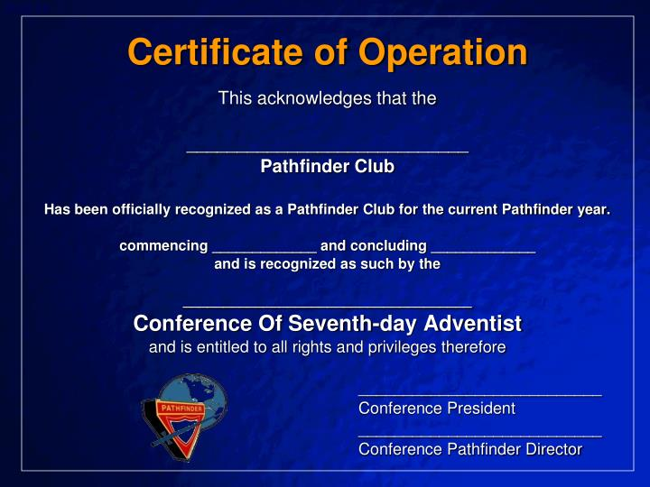 Certificate of Operation