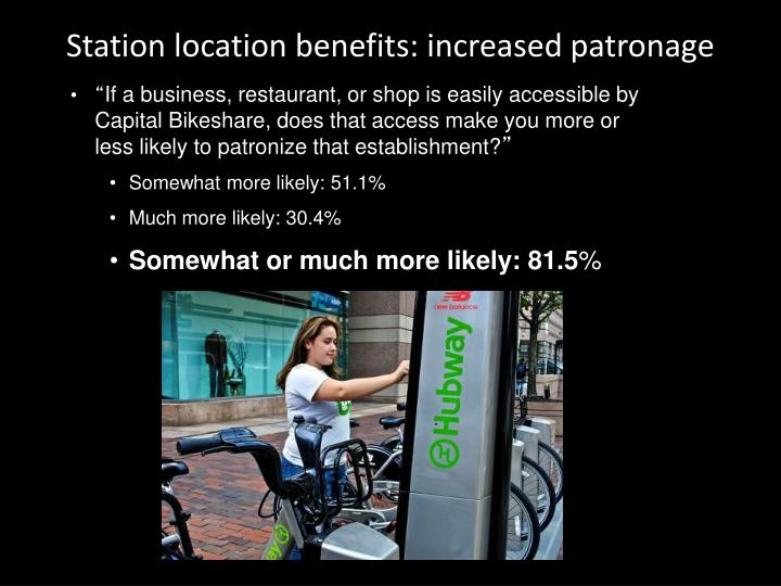 Station location benefits: increased patronage