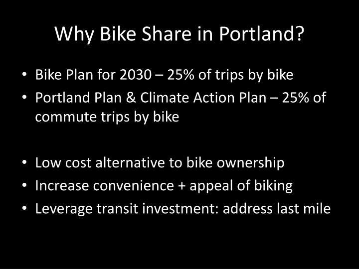 Why Bike Share in Portland?