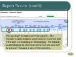 report results cont d