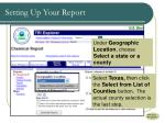 setting up your report