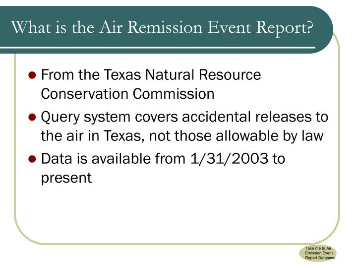 Take me to Air Emission Event Report Database
