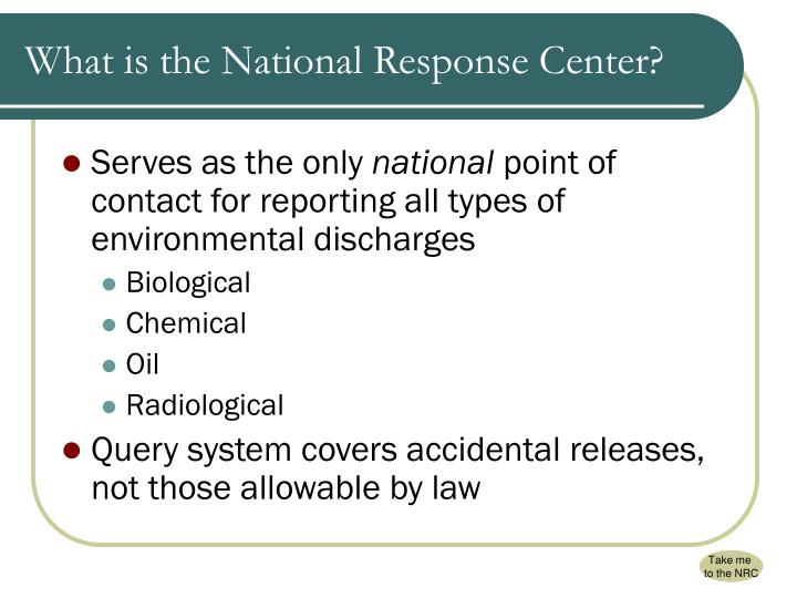 What is the National Response Center?