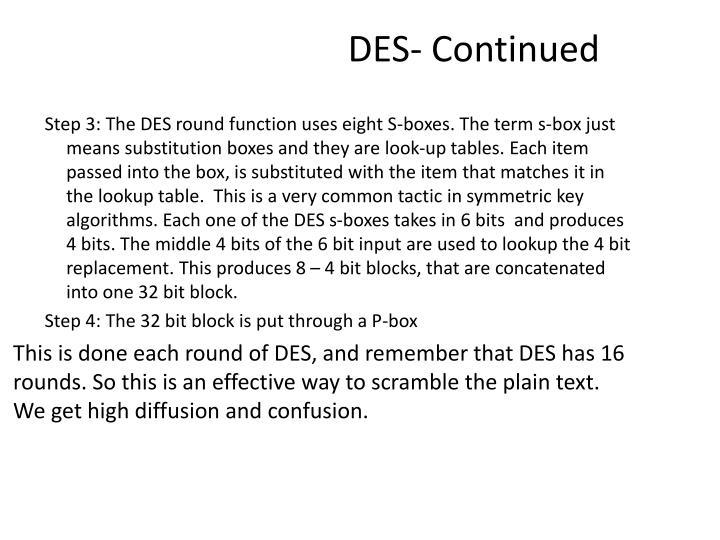 DES- Continued