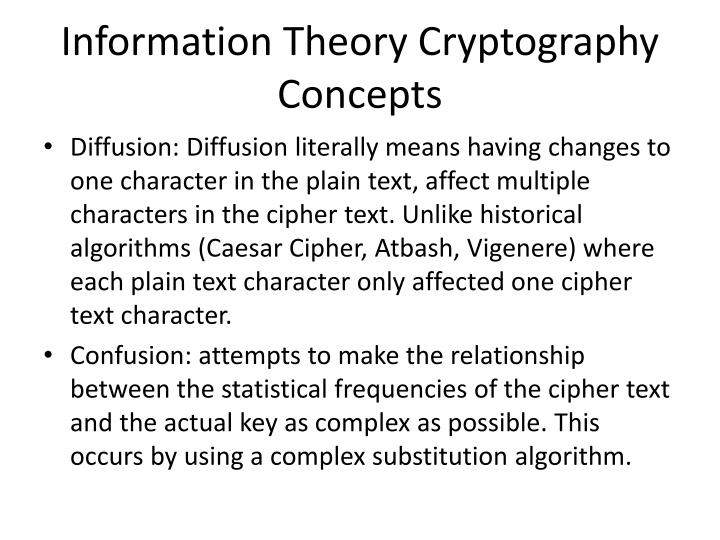 Information Theory Cryptography Concepts