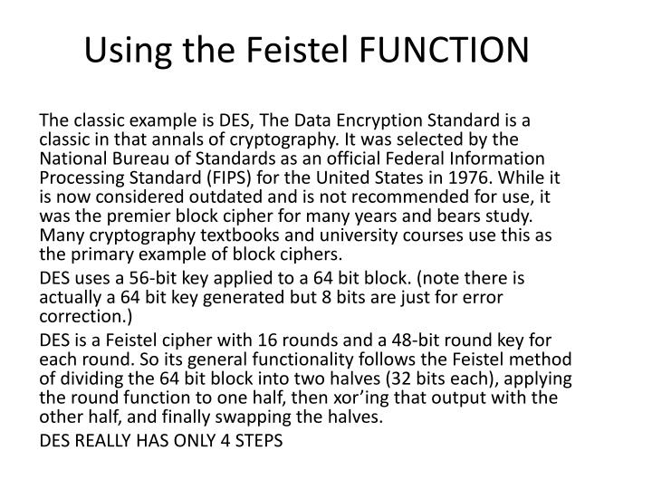 Using the Feistel FUNCTION