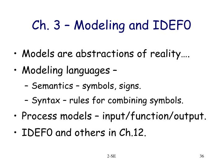 Ch. 3 – Modeling and IDEF0
