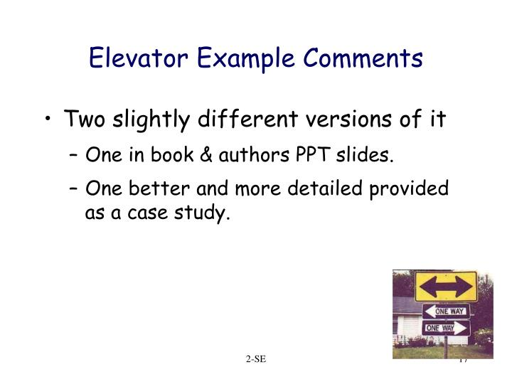 Elevator Example Comments