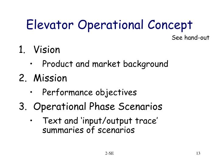 Elevator Operational Concept