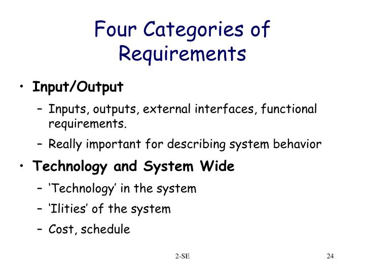 Four Categories of Requirements