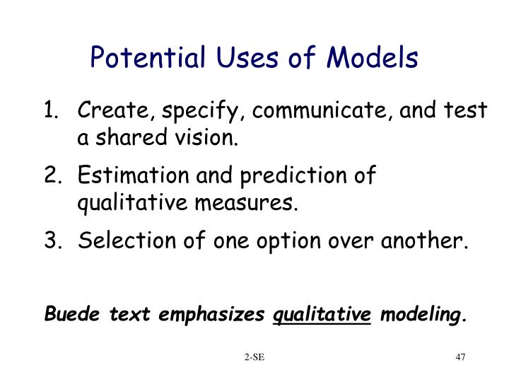 Potential Uses of Models