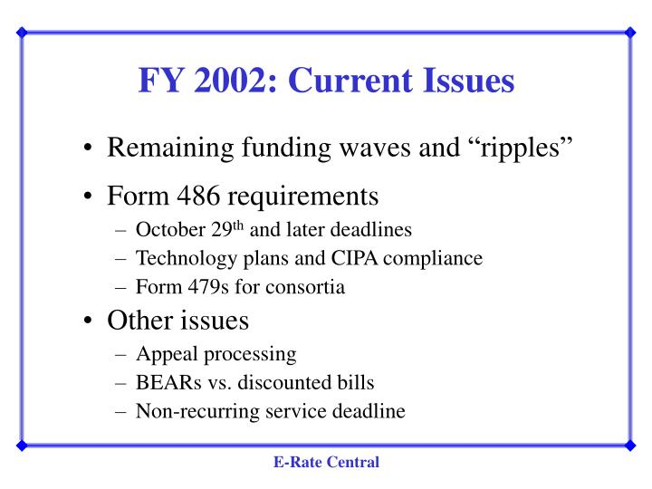 FY 2002: Current Issues