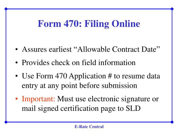 Form 470: Filing Online