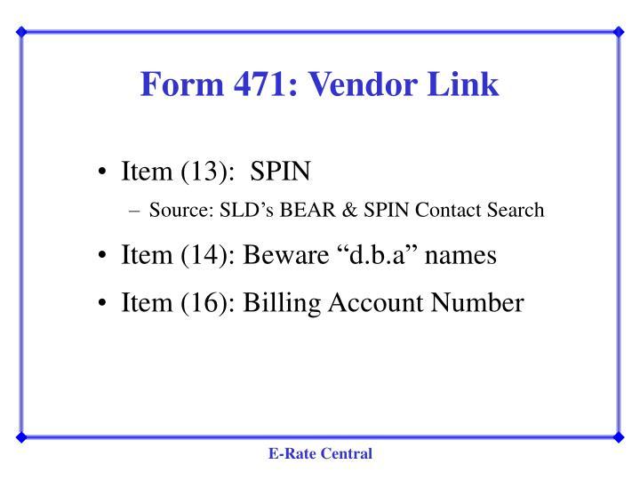 Form 471: Vendor Link