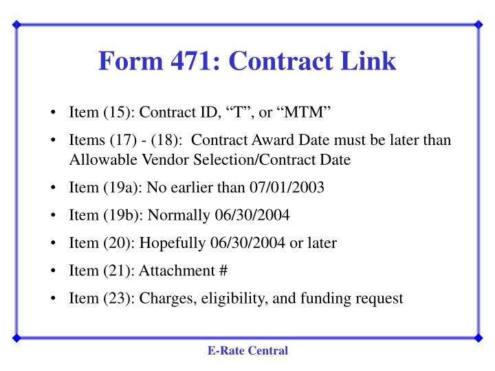 Form 471: Contract Link
