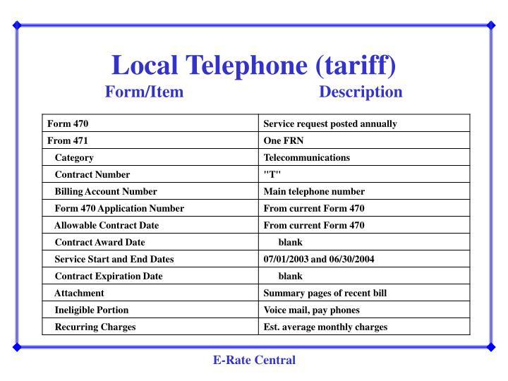 Local Telephone (tariff)