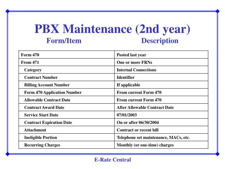 PBX Maintenance (2nd year)