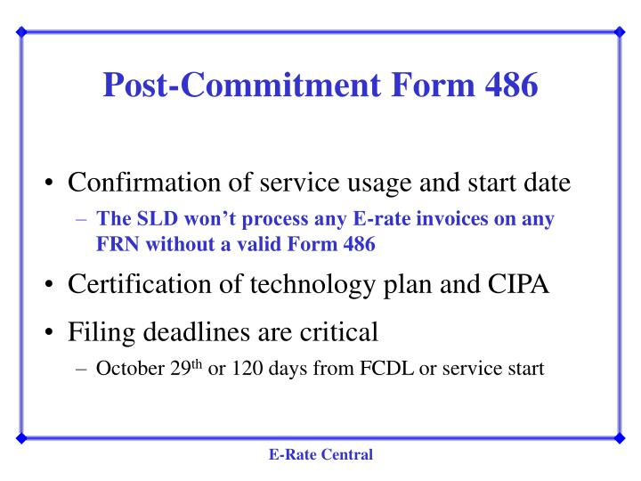 Post-Commitment Form 486