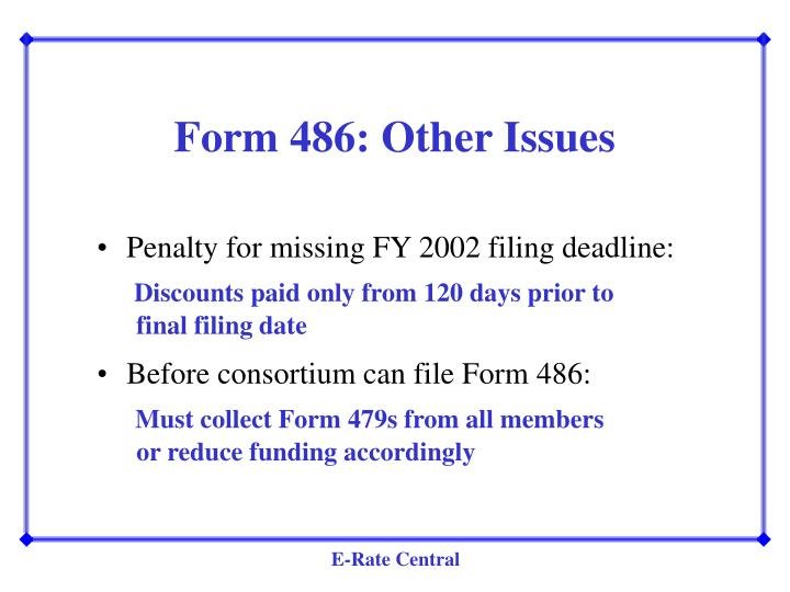 Form 486: Other Issues