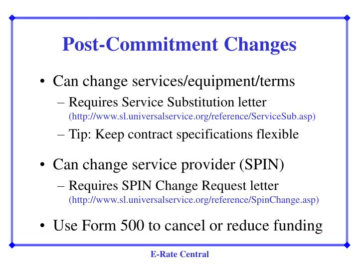 Post-Commitment Changes