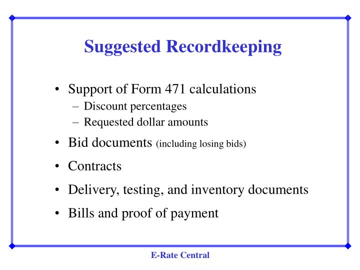 Suggested Recordkeeping
