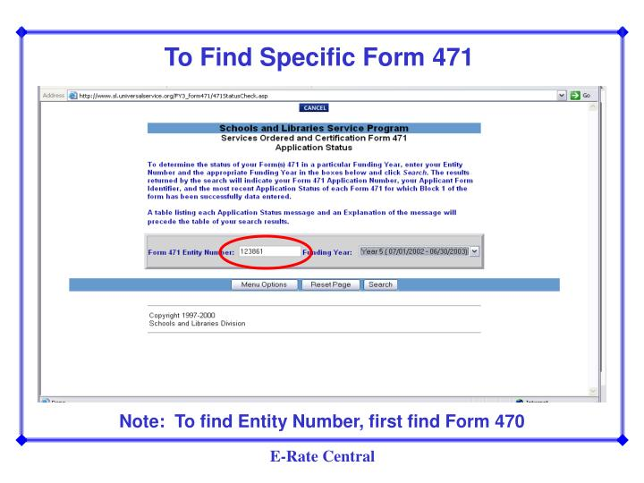 To Find Specific Form 471