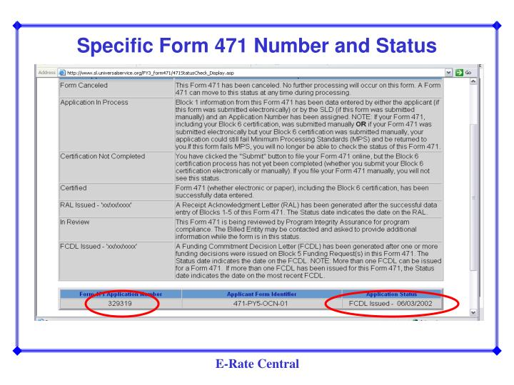 Specific Form 471 Number and Status