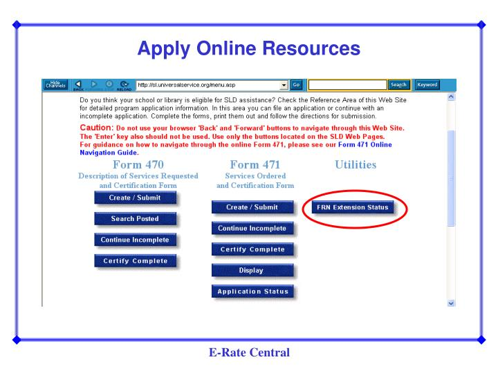 Apply Online Resources