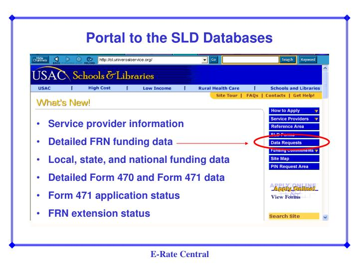 Portal to the SLD Databases