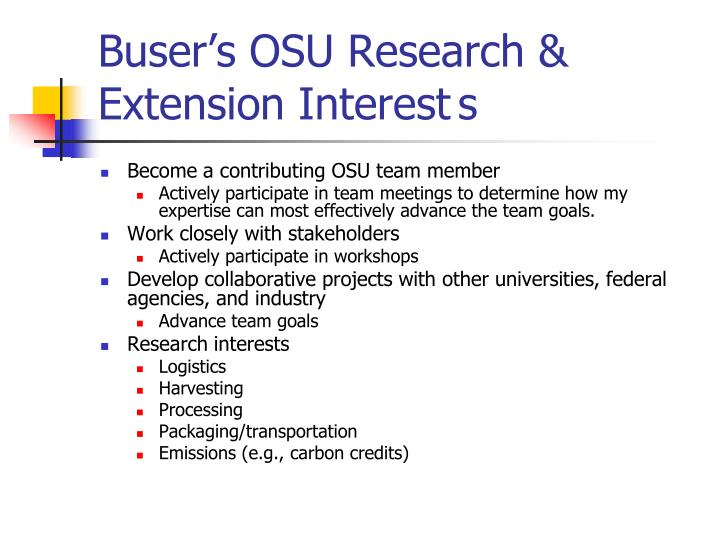 Buser's OSU Research & Extension Interest	s