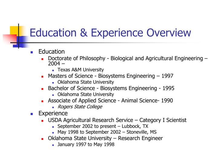 Education experience overview