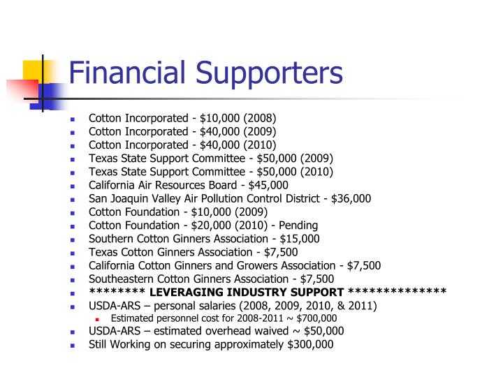 Financial Supporters