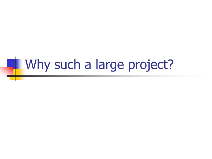 Why such a large project?