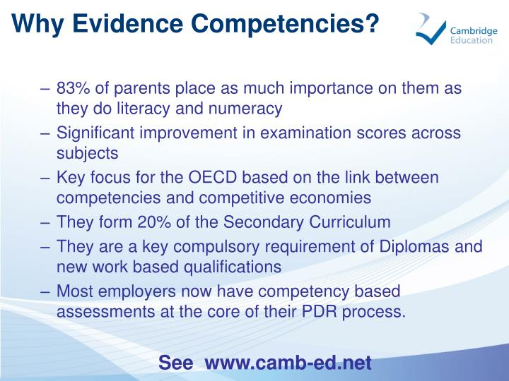 Why Evidence Competencies?