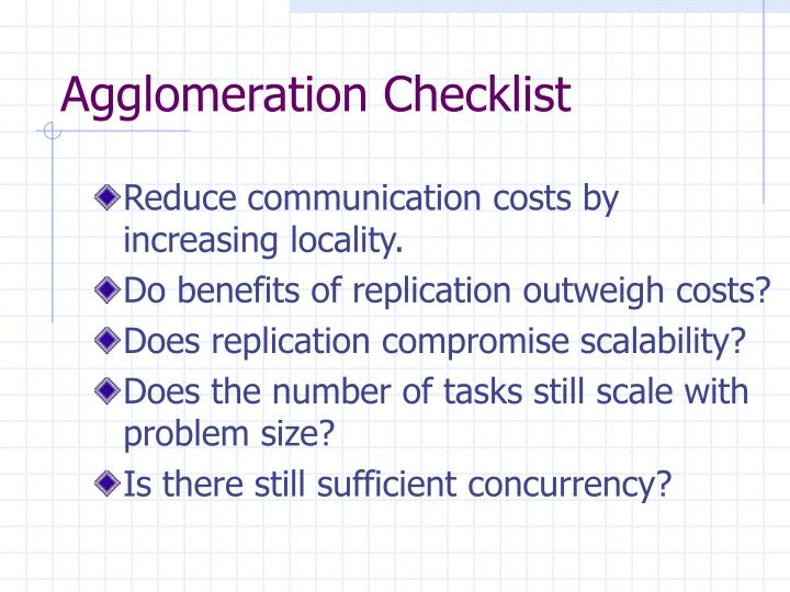Agglomeration Checklist
