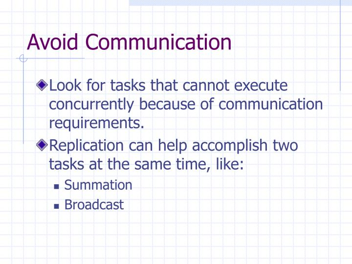 Avoid Communication