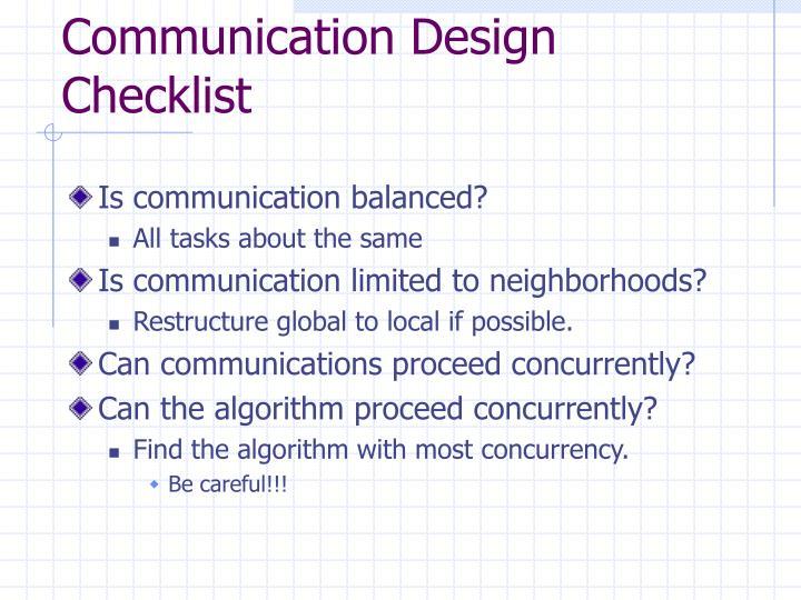 Communication Design Checklist