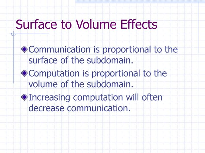 Surface to Volume Effects